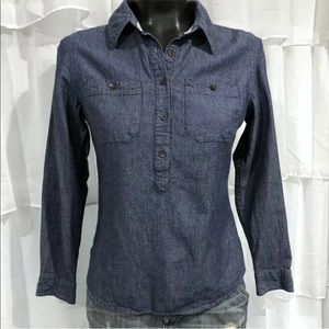 TOMS chambray Denim Pin dot print shirt xs